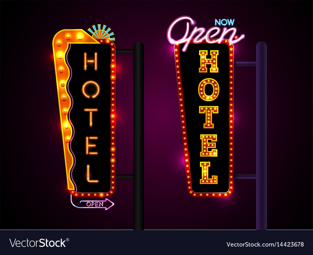 Neon hotel sign set vertically text