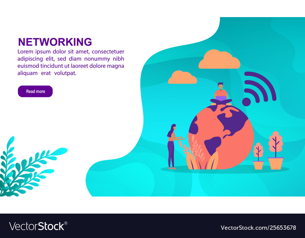 Networking concept with character template for