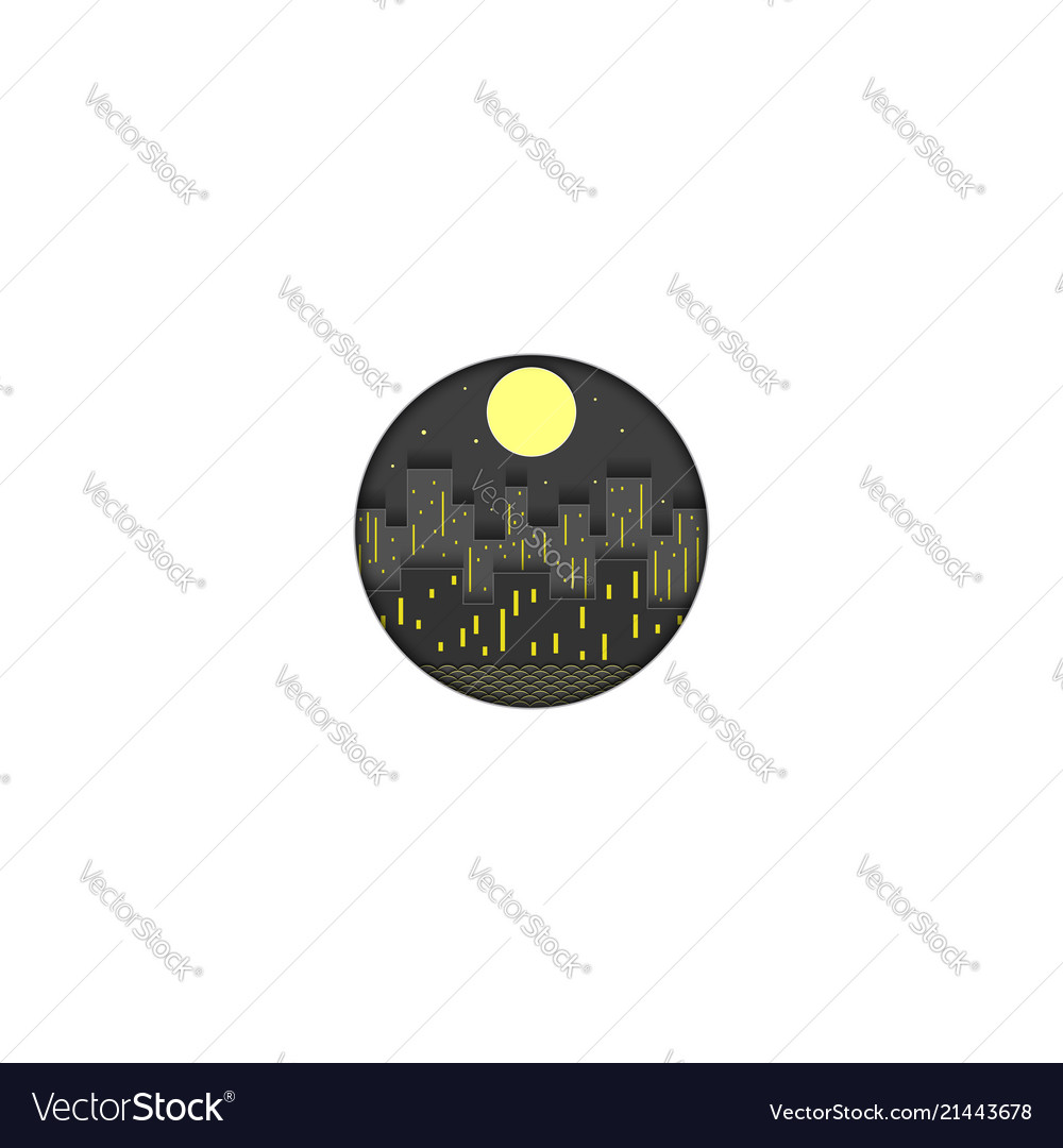 Night city logo cut out of paper the lights of