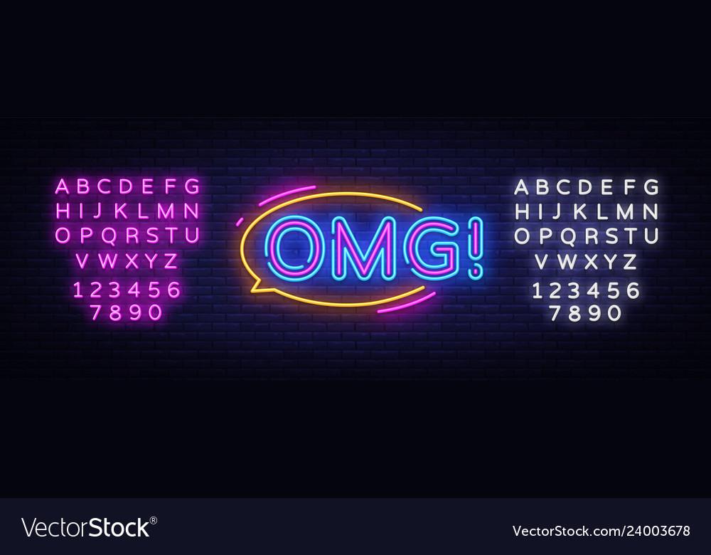Omg neon sign omg pop art design template