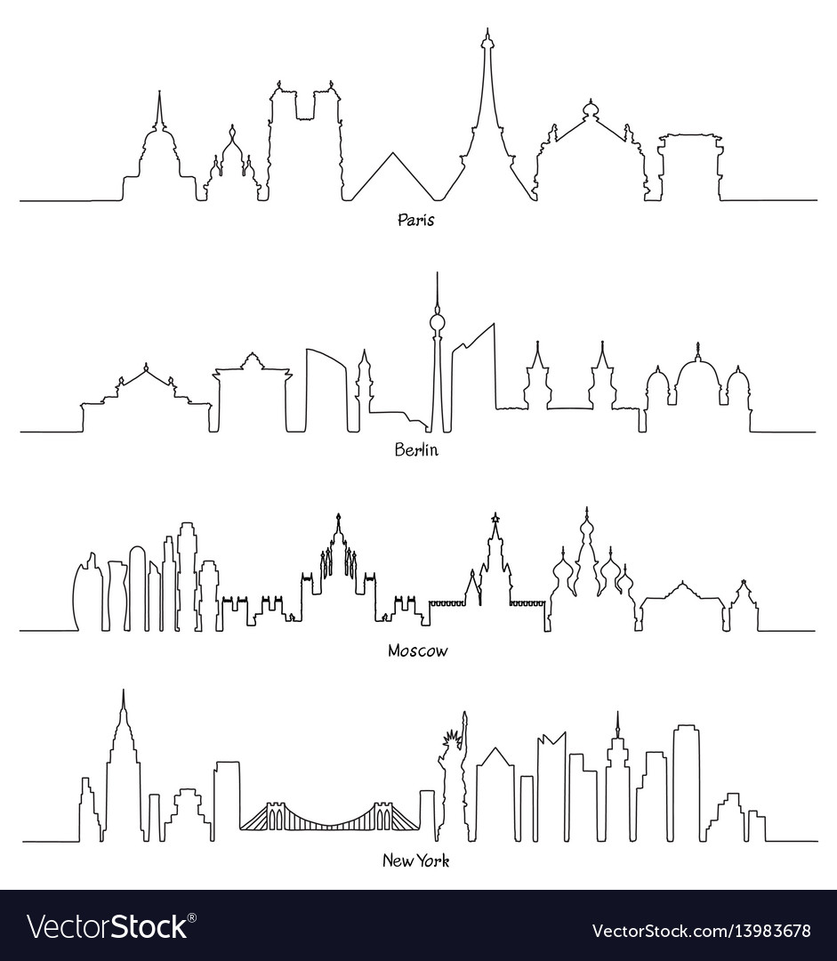Paris berlin moscow and new york vector image
