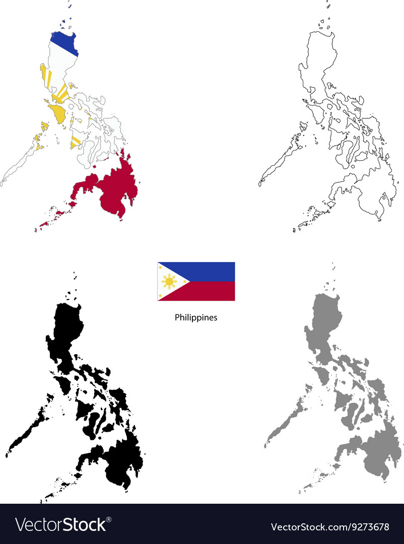 Philippines country black silhouette and with flag