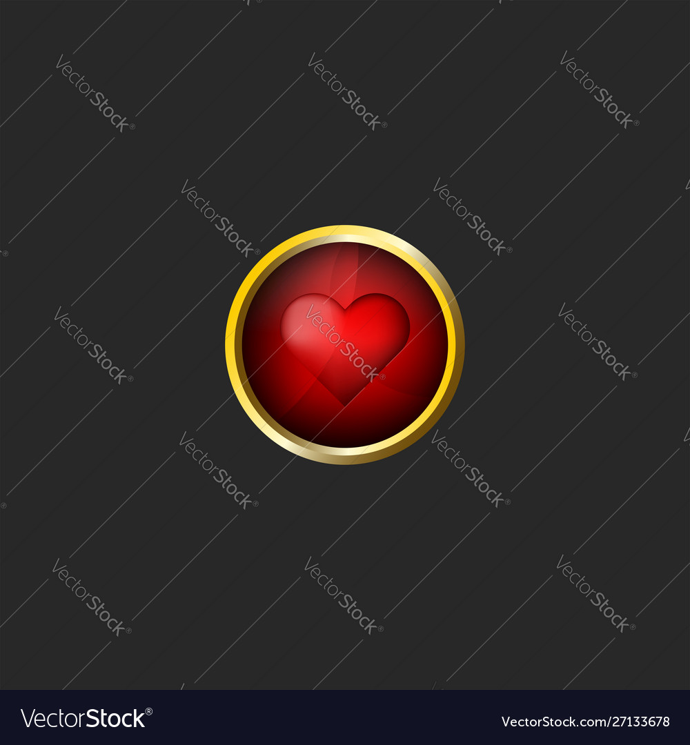 Red heart logo valentine day 3d icon glossy glass