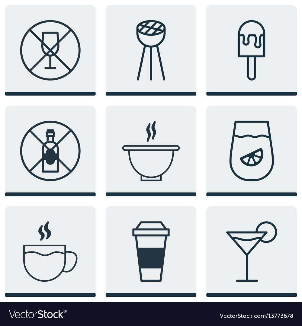 Set of 9 eating icons includes alcohol forbid