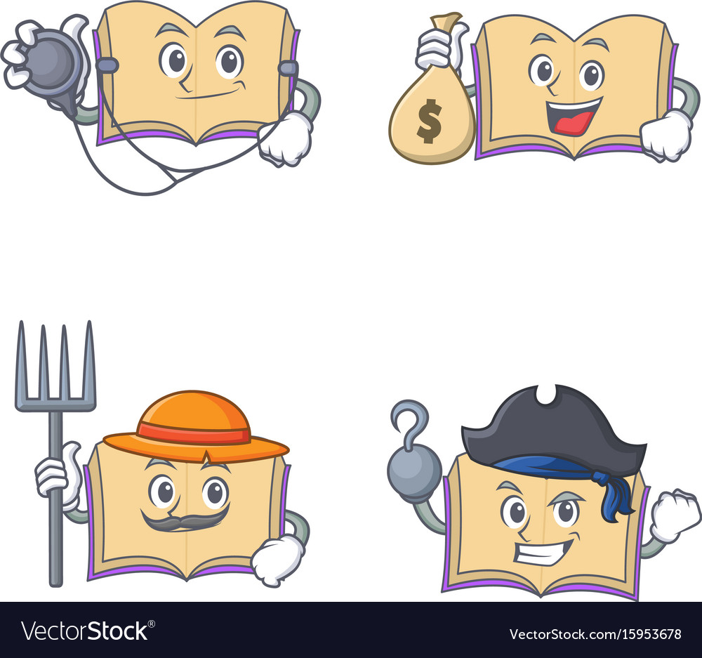 Set of open book character with doctor money bag vector image