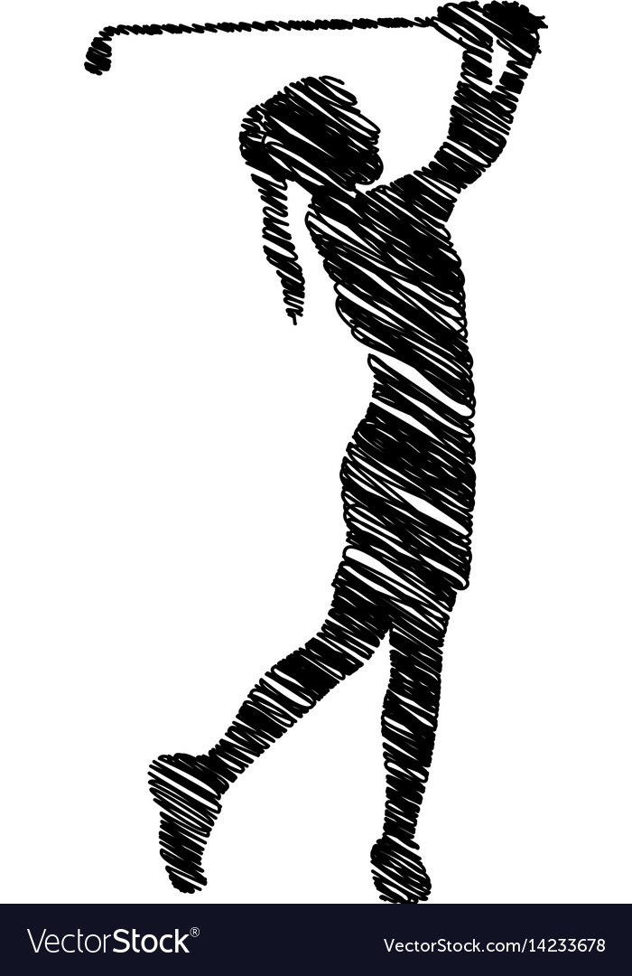 Silhouette drawing girl playing golf icon