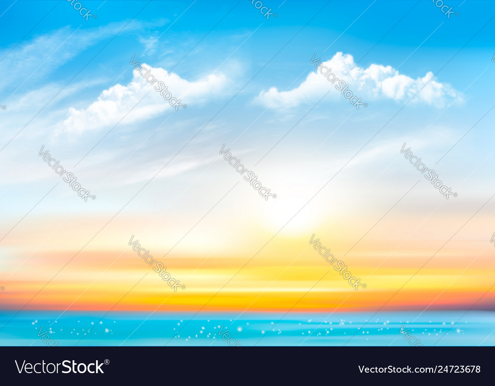 Sunset sky background with transparent clouds and