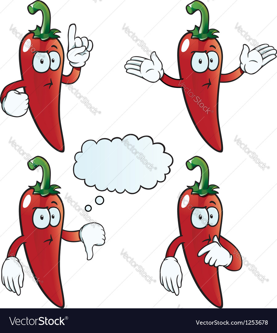 Thinking chili pepper set vector image