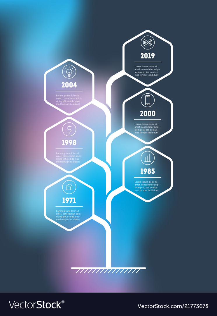 Vertical tree or timeline infographics the