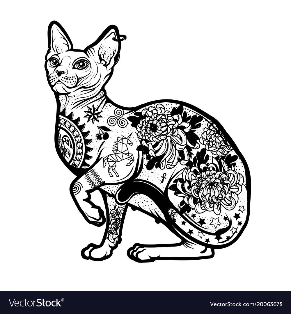 Vintage cat tattoo design