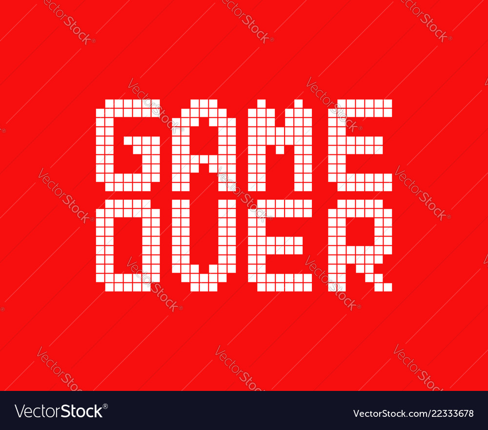 White Game Over Logo In Pixel Art Style