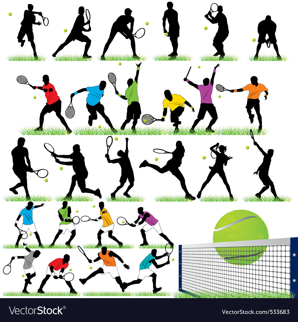 26 tennis players silhouettes set
