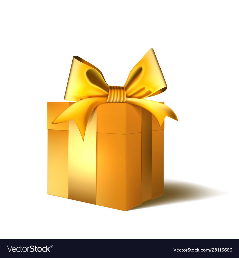 Christmas or new year day gold gift box with bow