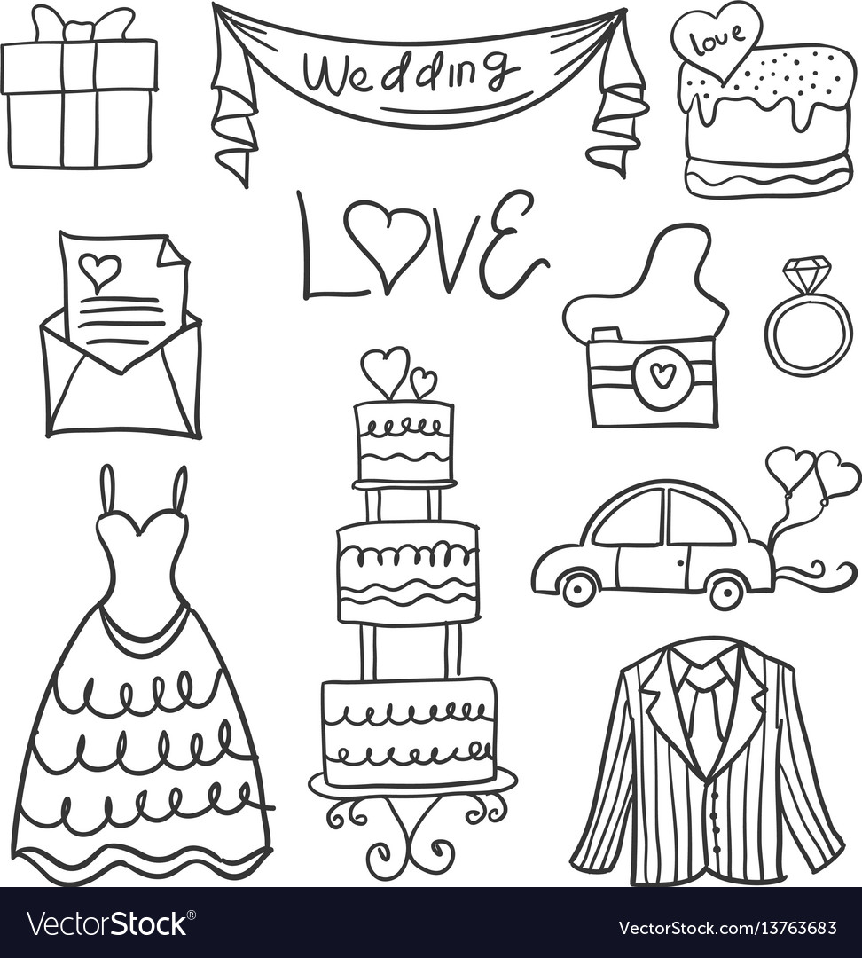 Collection of wedding element in doodle style