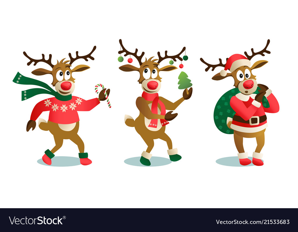 Funny Christmas Images.Cute And Funny Christmas Reindeers Cartoon