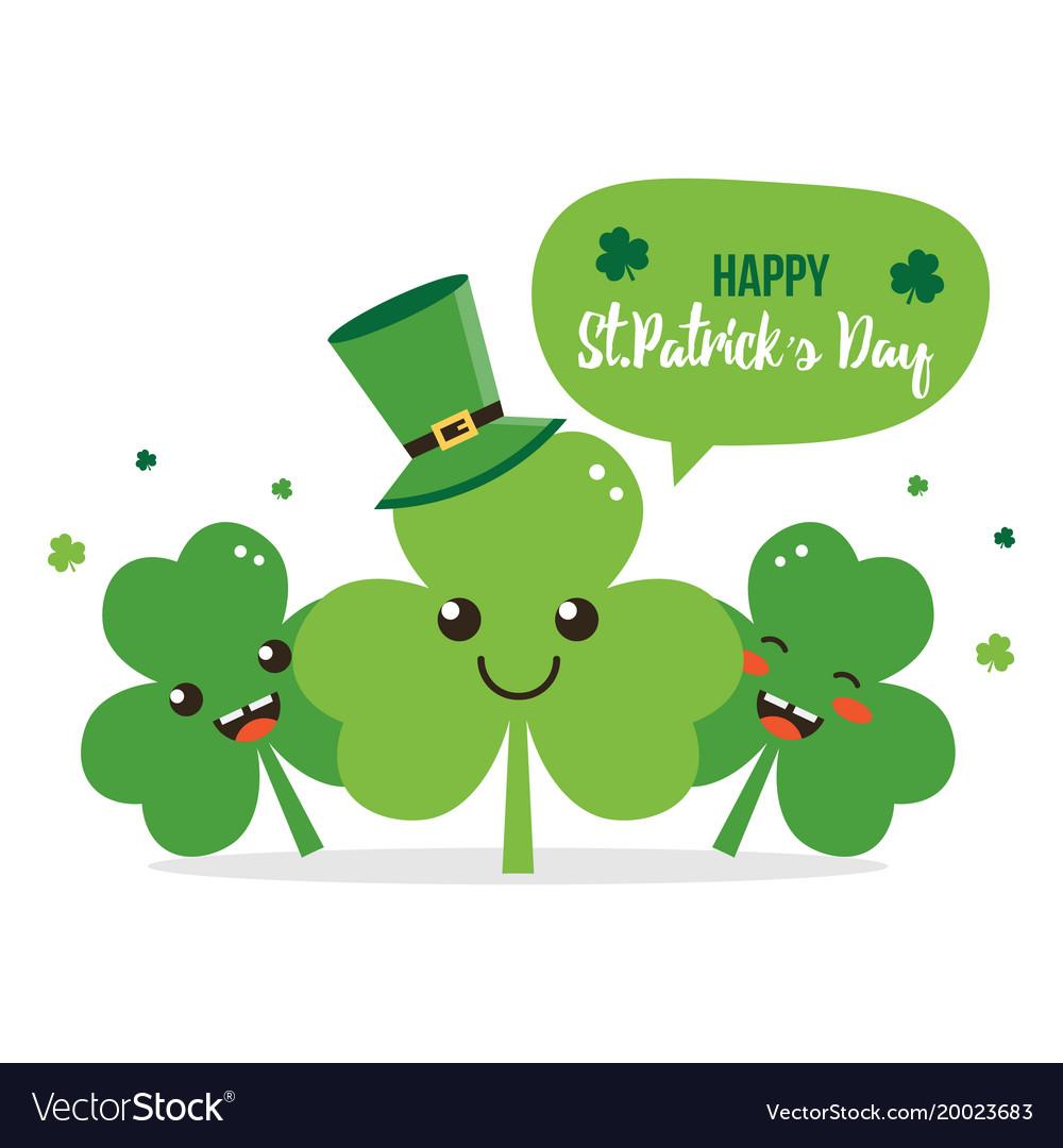 happy st patricks day shamrock cartoon characters vector image