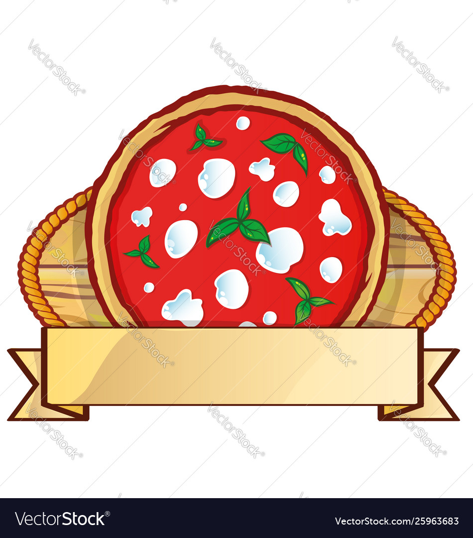 Italian pizza logo with empty label banner space