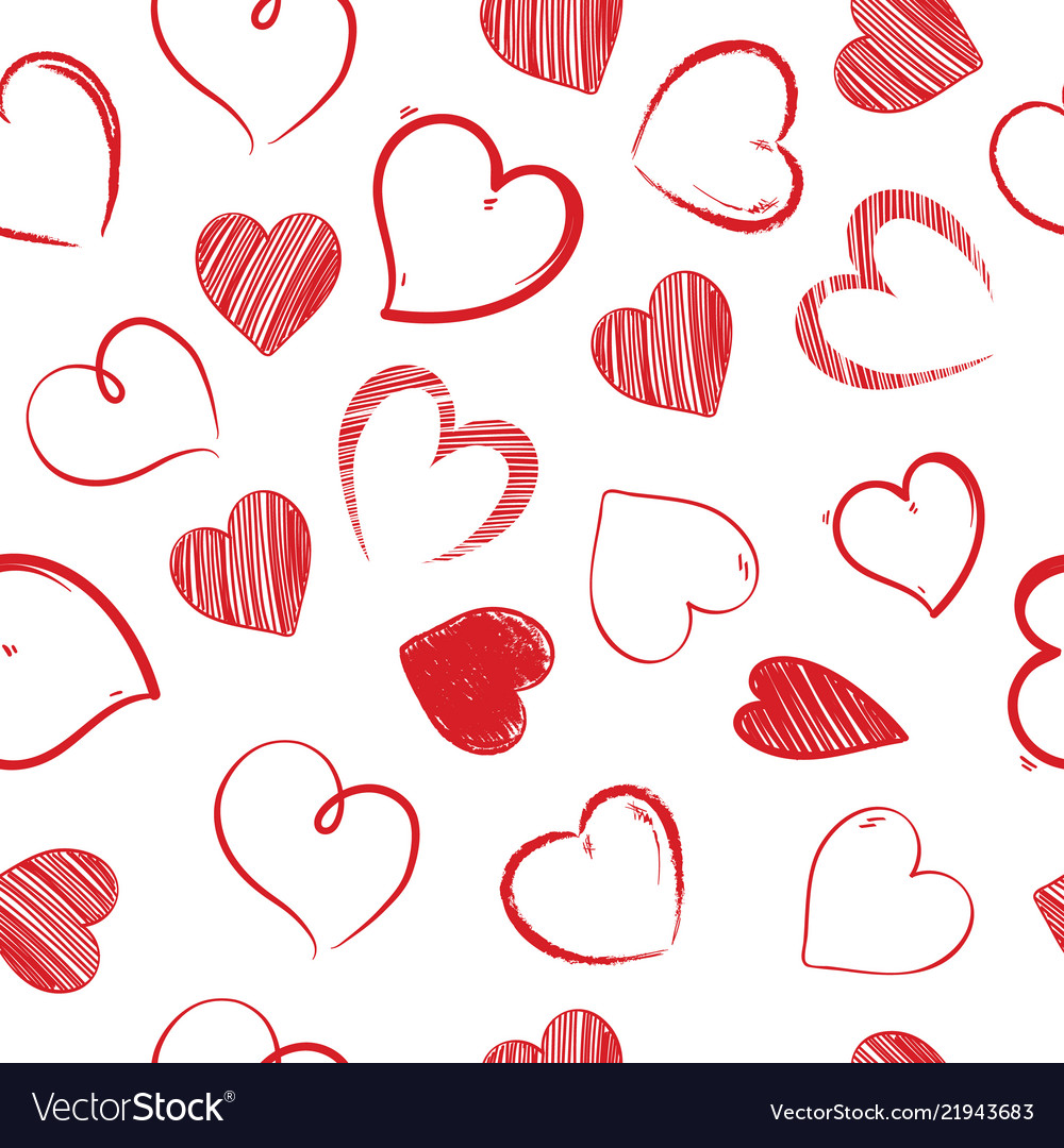 Love hearts sealess pattern decorative valentines