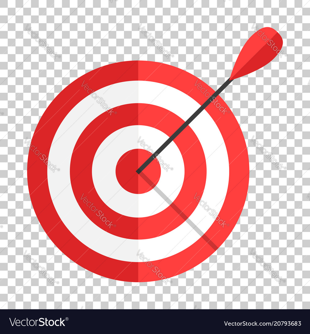 Target aim icon in flat style darts game on