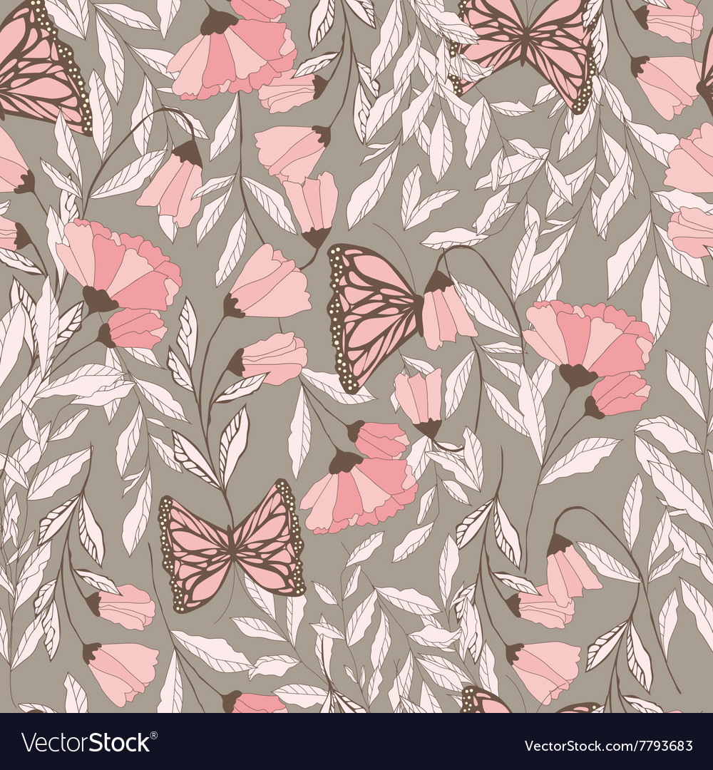 Traditional seamless pattern with monarchs