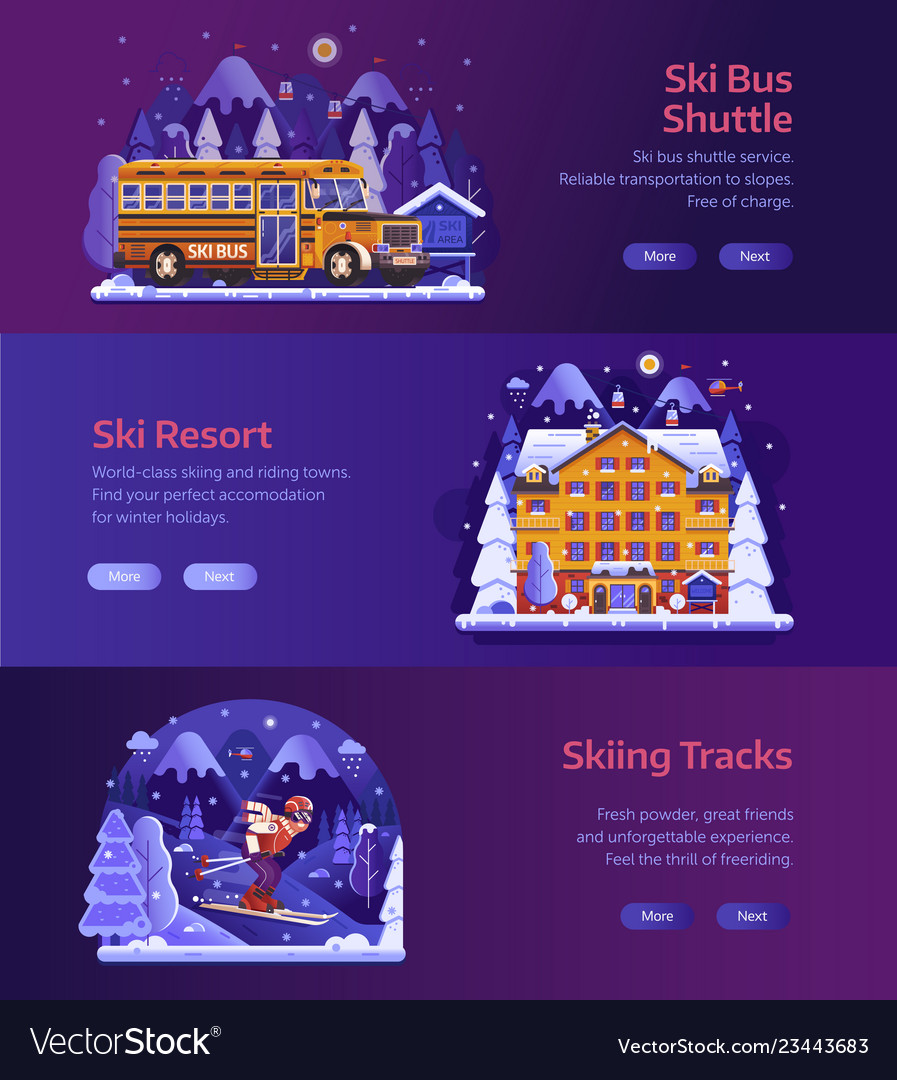 Winter ski resort horizontal banners