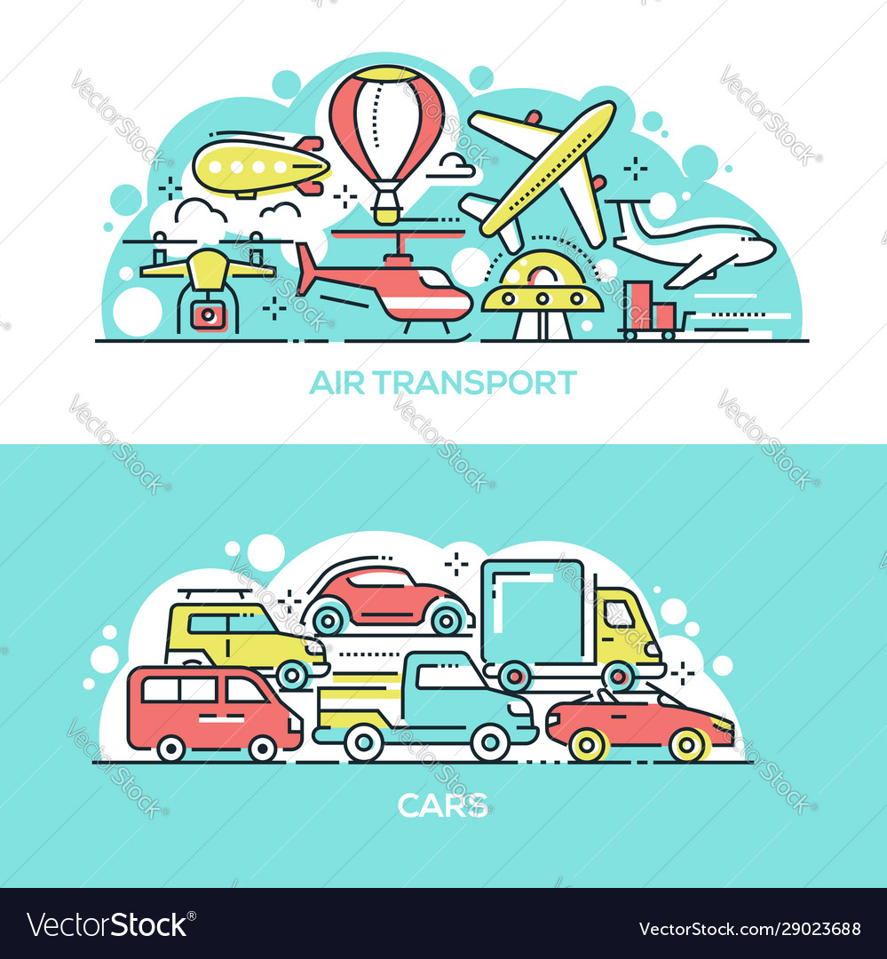Air transport and cars banner templates set