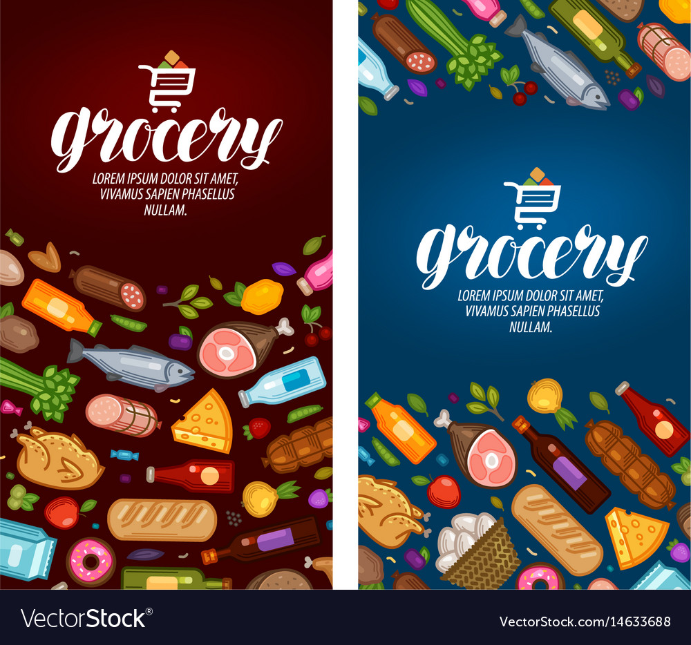 Grocery store label food supermarket banner vector image