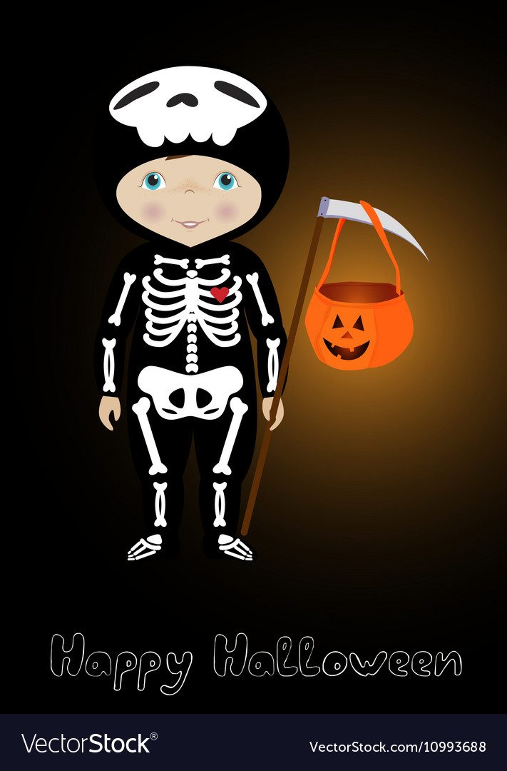 Happy Halloween card with cute skeleton