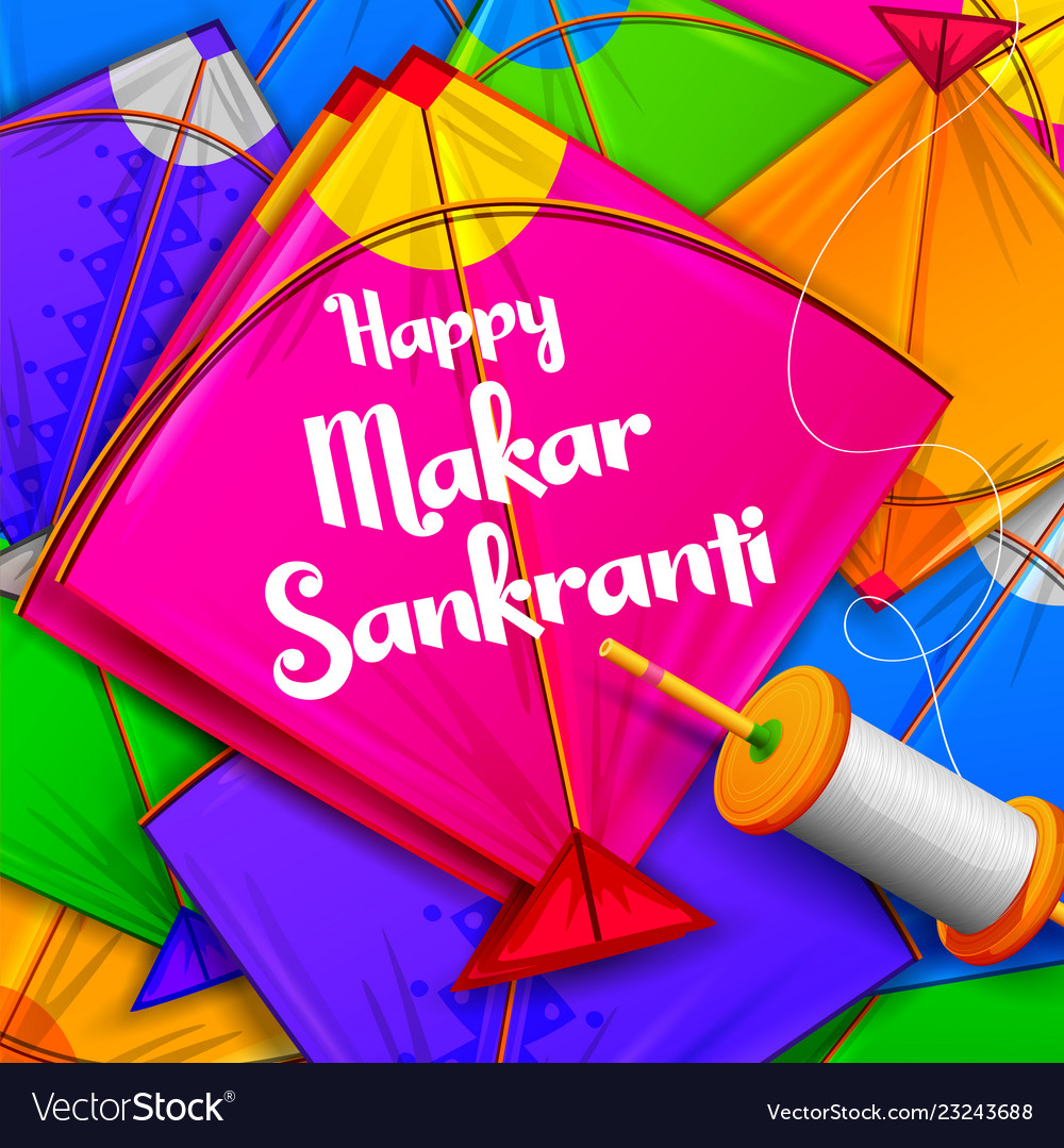 happy makar sankranti wallpaper with colorful kite vectorstock