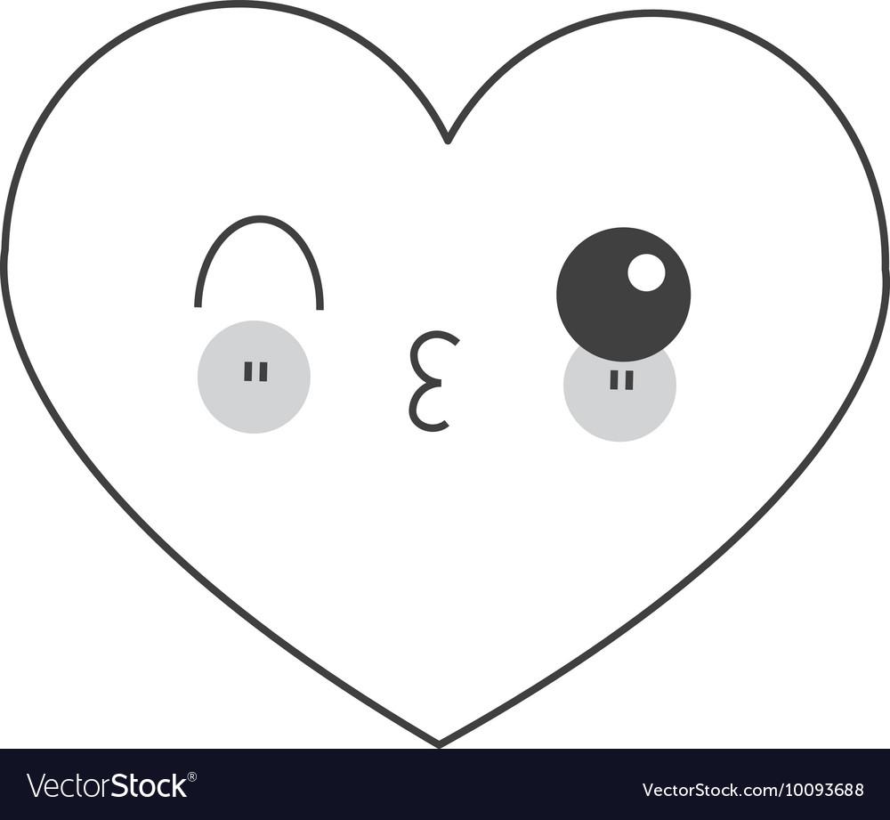 Kawaii heart icon vector image
