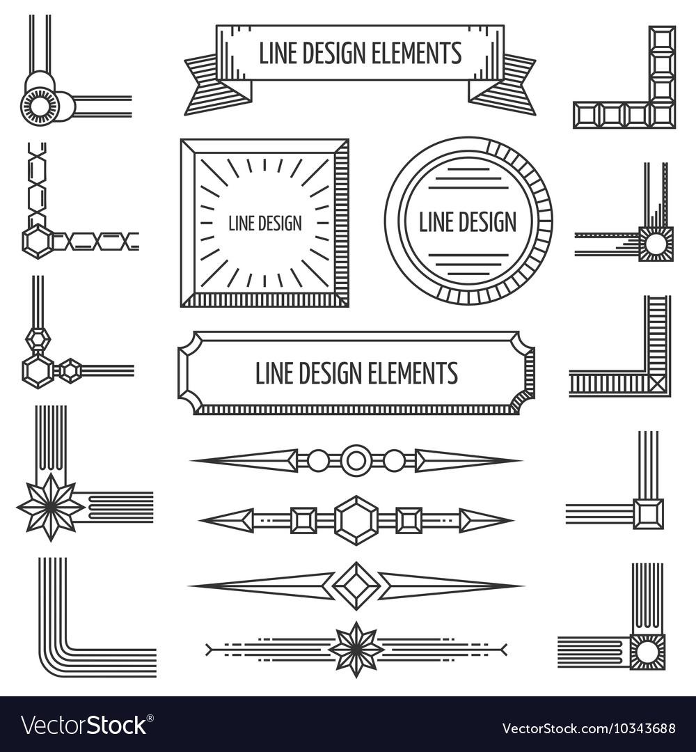 Retro linear outline design elements frames
