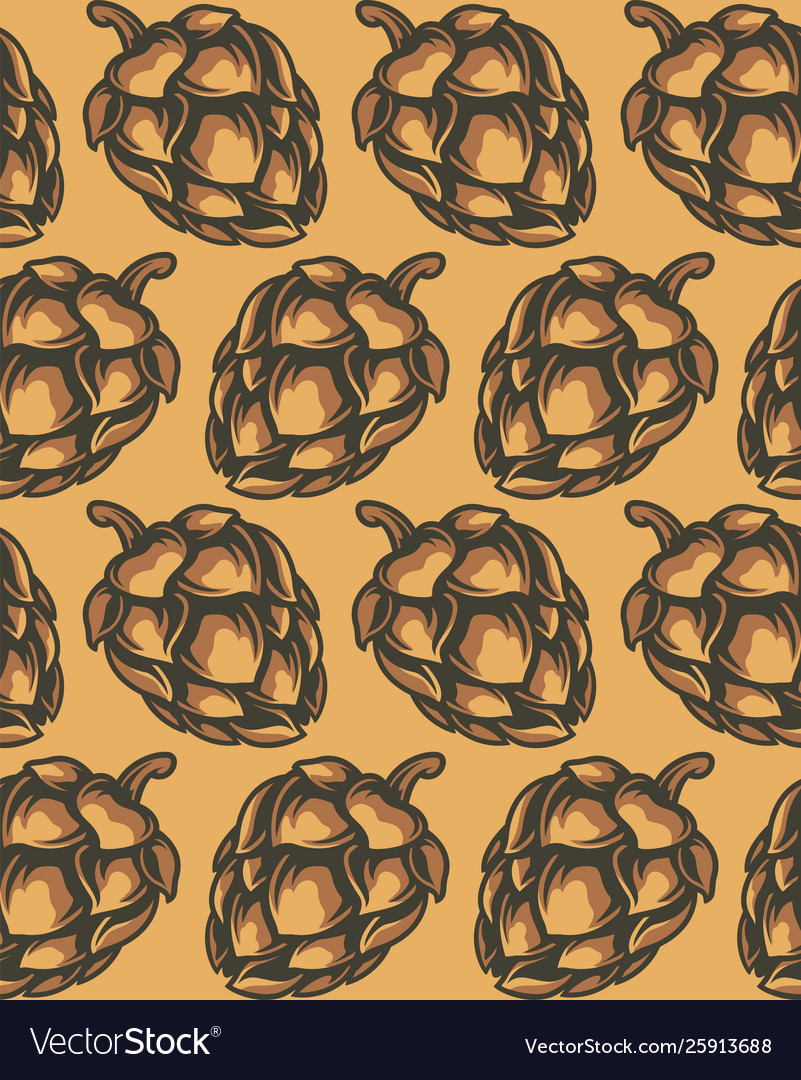 Seamless pattern hop cones