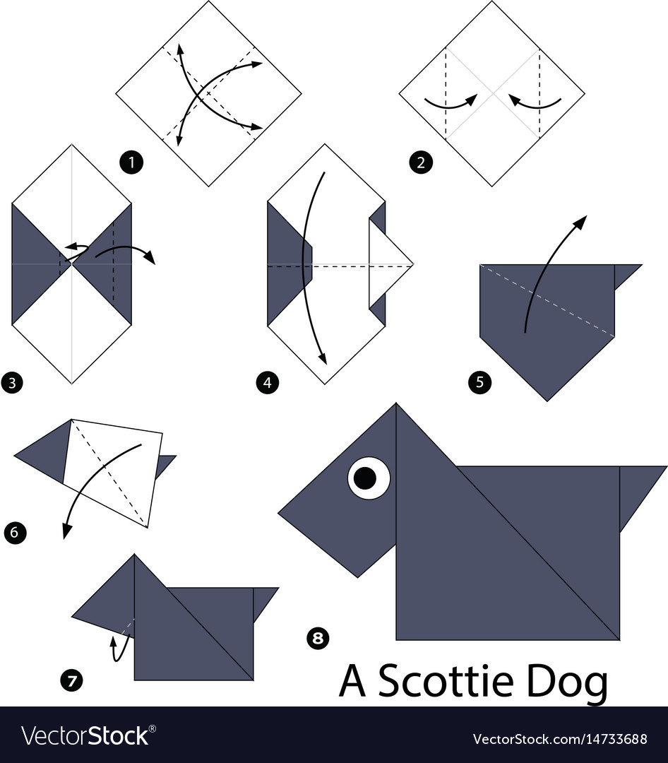 Step By Instructions How To Make Origami Vector Image Dog Diagram