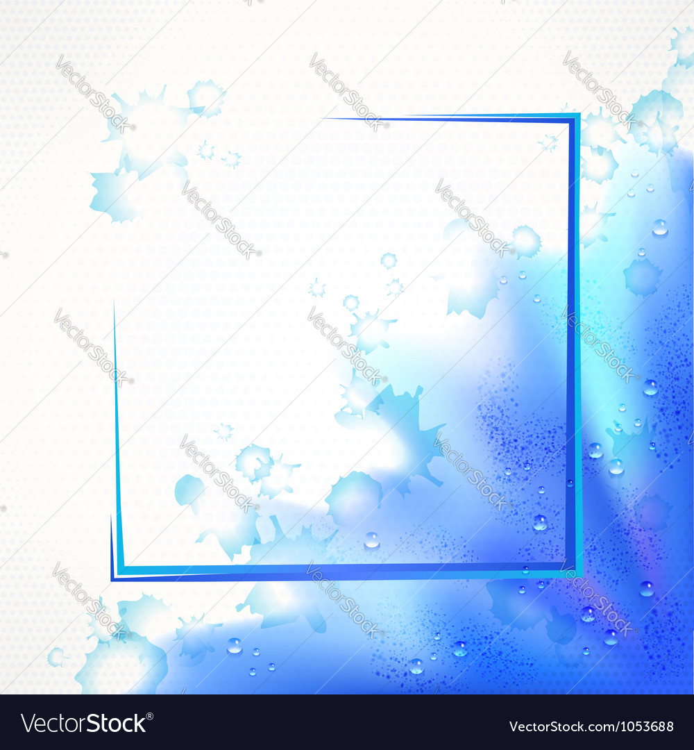 Watercolor blue frame vector image
