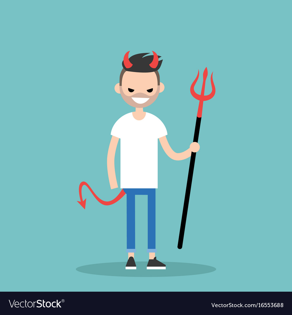 Young character wearing devil elements horns tail
