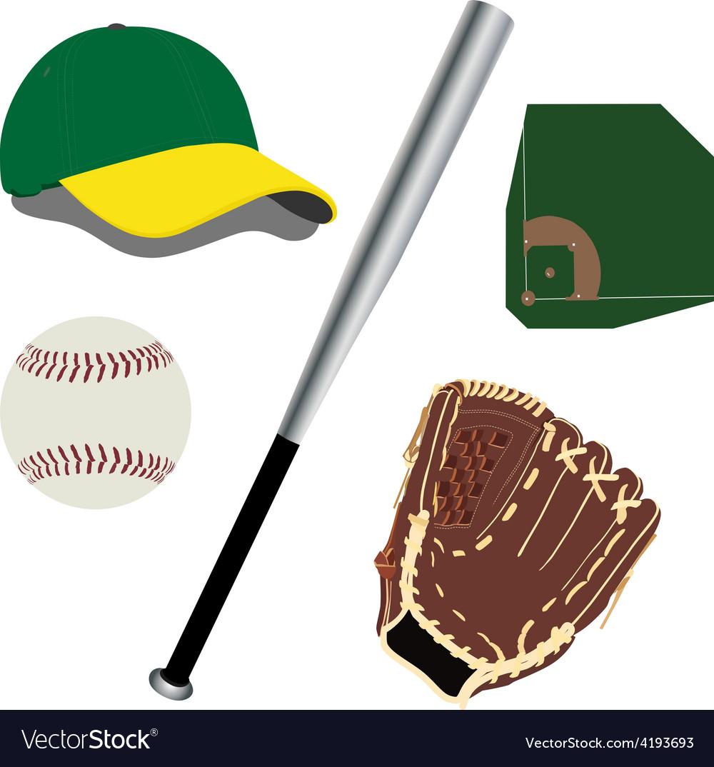 Baseball field ball glove hat and bat