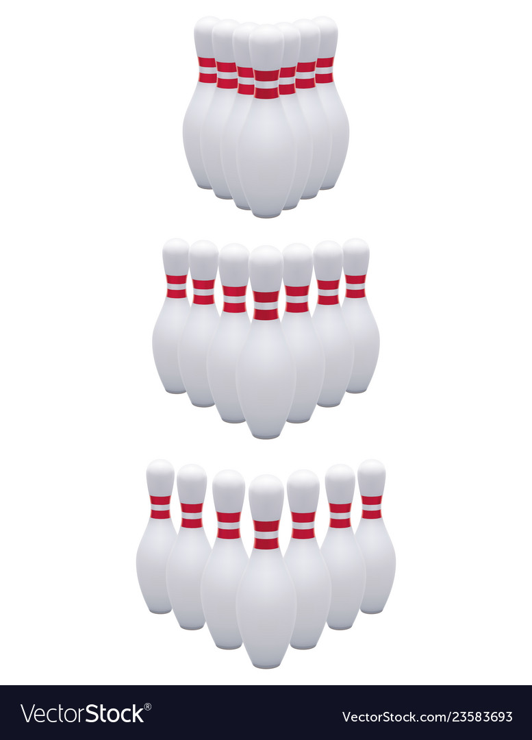 Bowling pins isolated on white realistic 3d