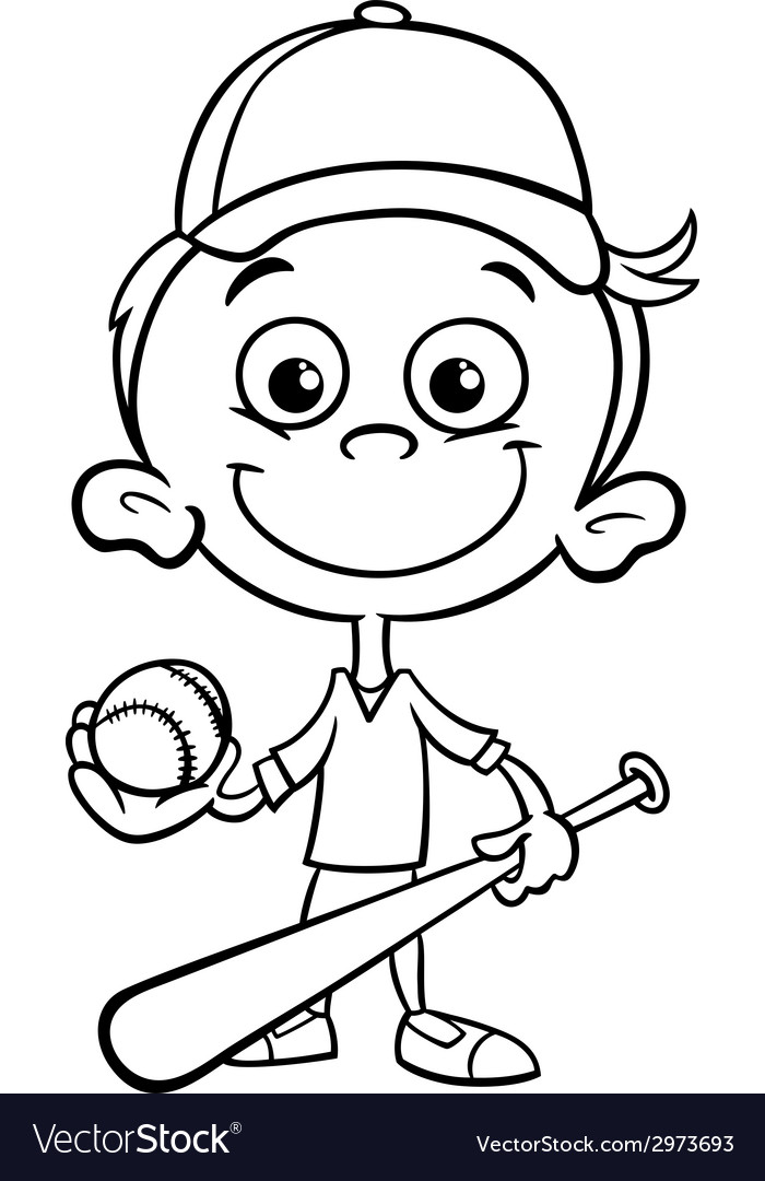 Boy Baseball Player Coloring Page Vector Image