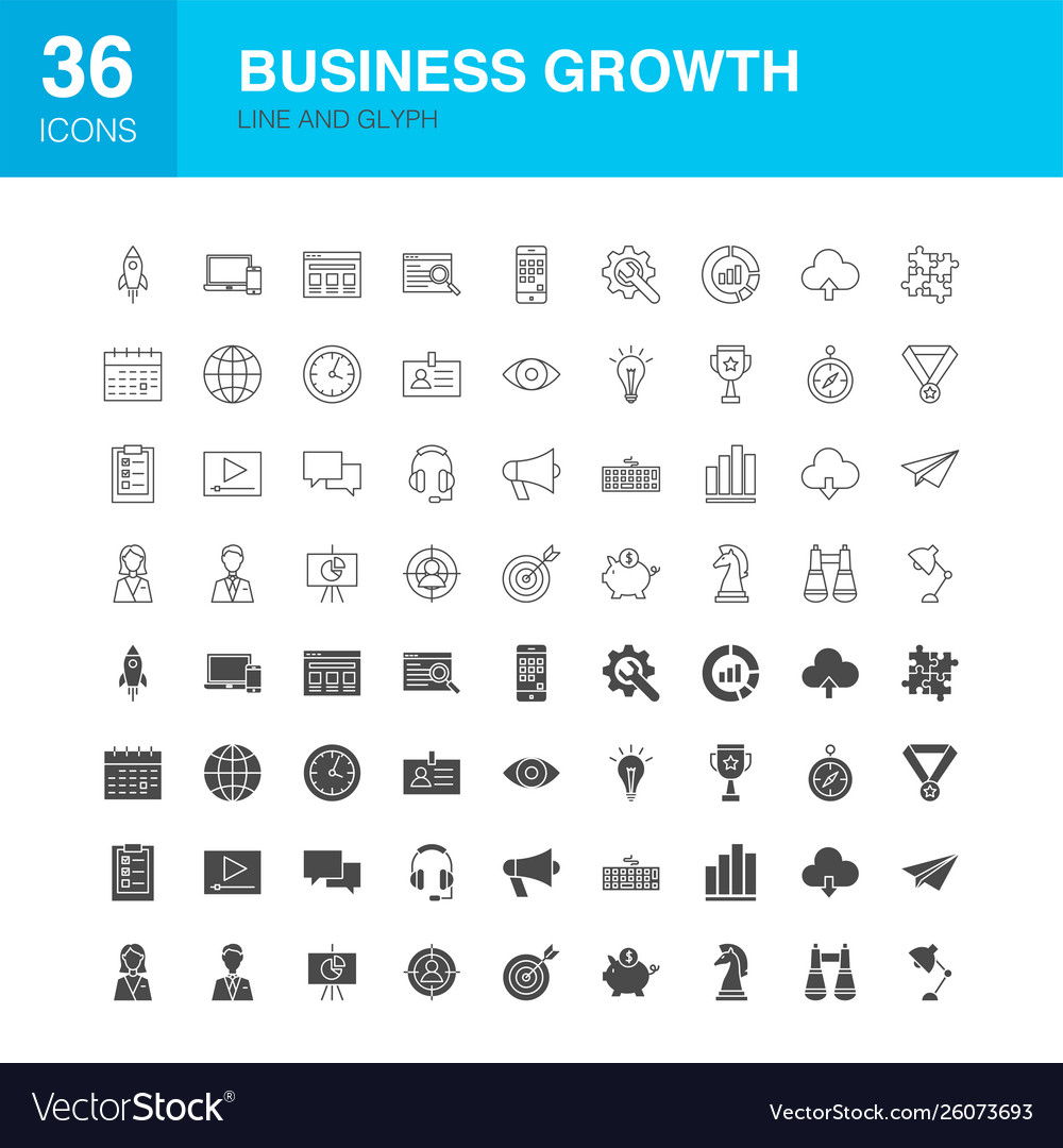Business growth line web glyph icons