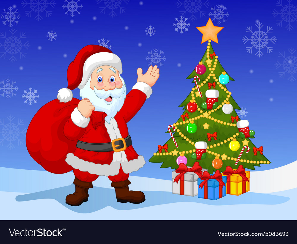 Cartoon Santa clause with Christmas tree