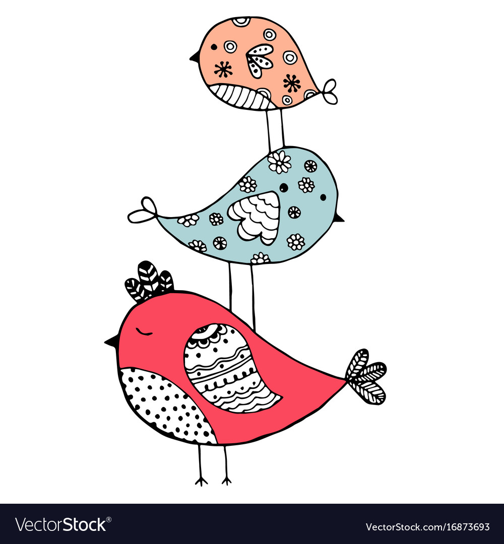 Cute hand drawn birds doodle design isolated on