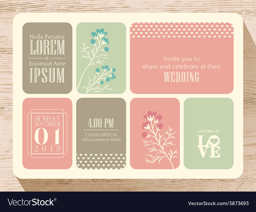 Wedding Invitation Card Background: Cute Pastel Wedding Invitation Card Background Vector Image