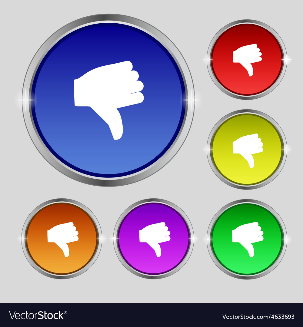 Dislike Thumb down icon sign Round symbol on