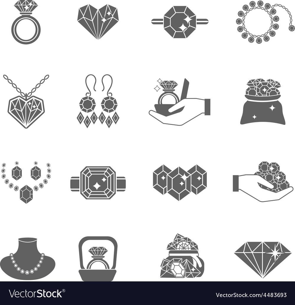 Precious Jewels Icon Set vector image