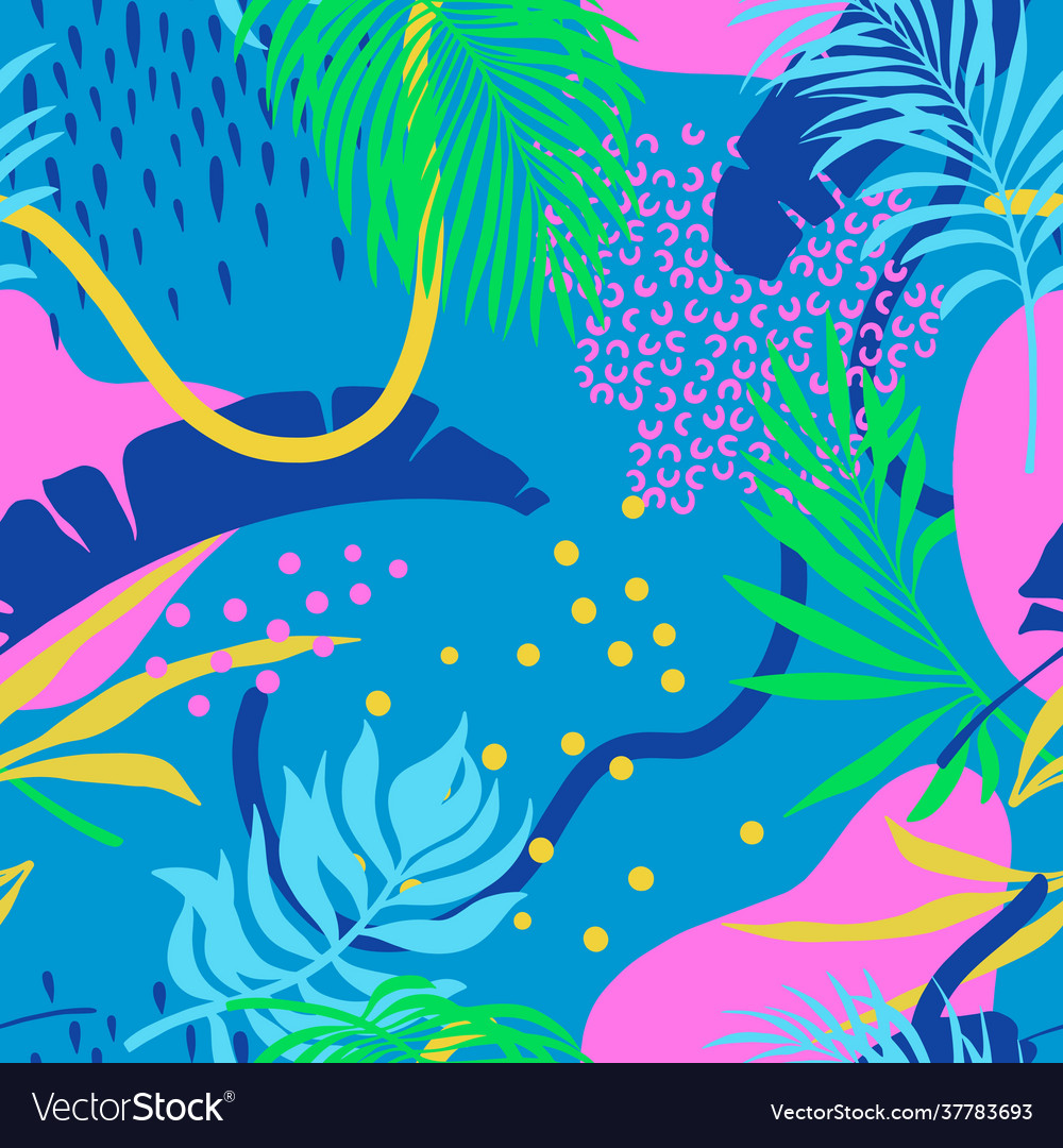 Seamless pattern with colorful palm leaves