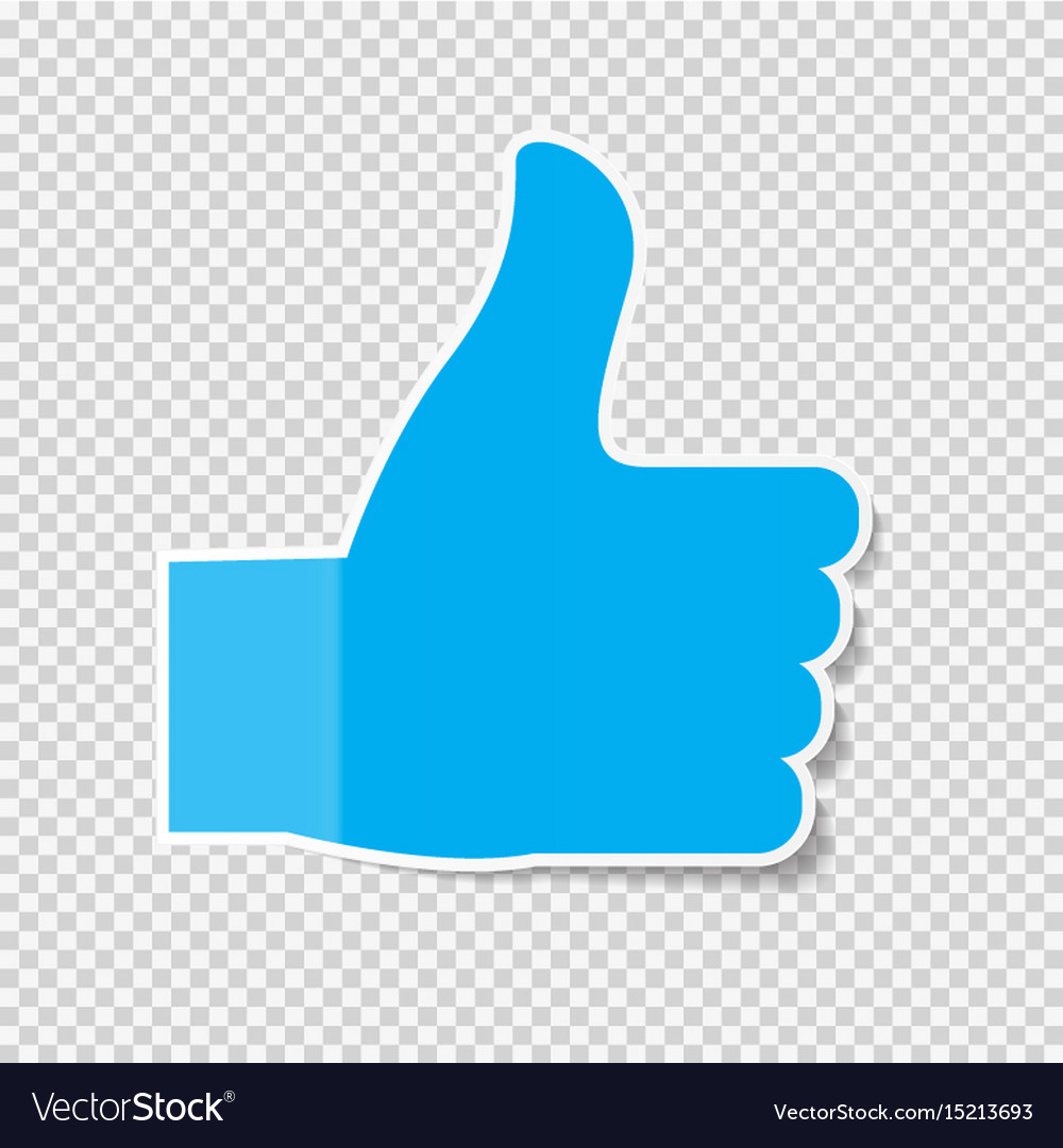 sticky paper thumbs up sign note on transparent vector image rh vectorstock com thumbs up vector png thumbs up vector art