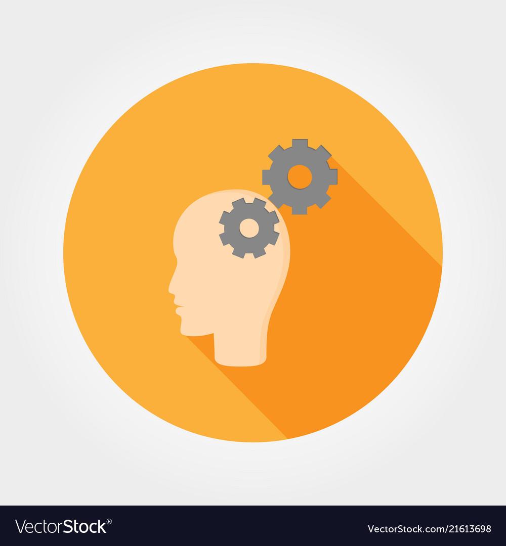 Brain activity icon flat