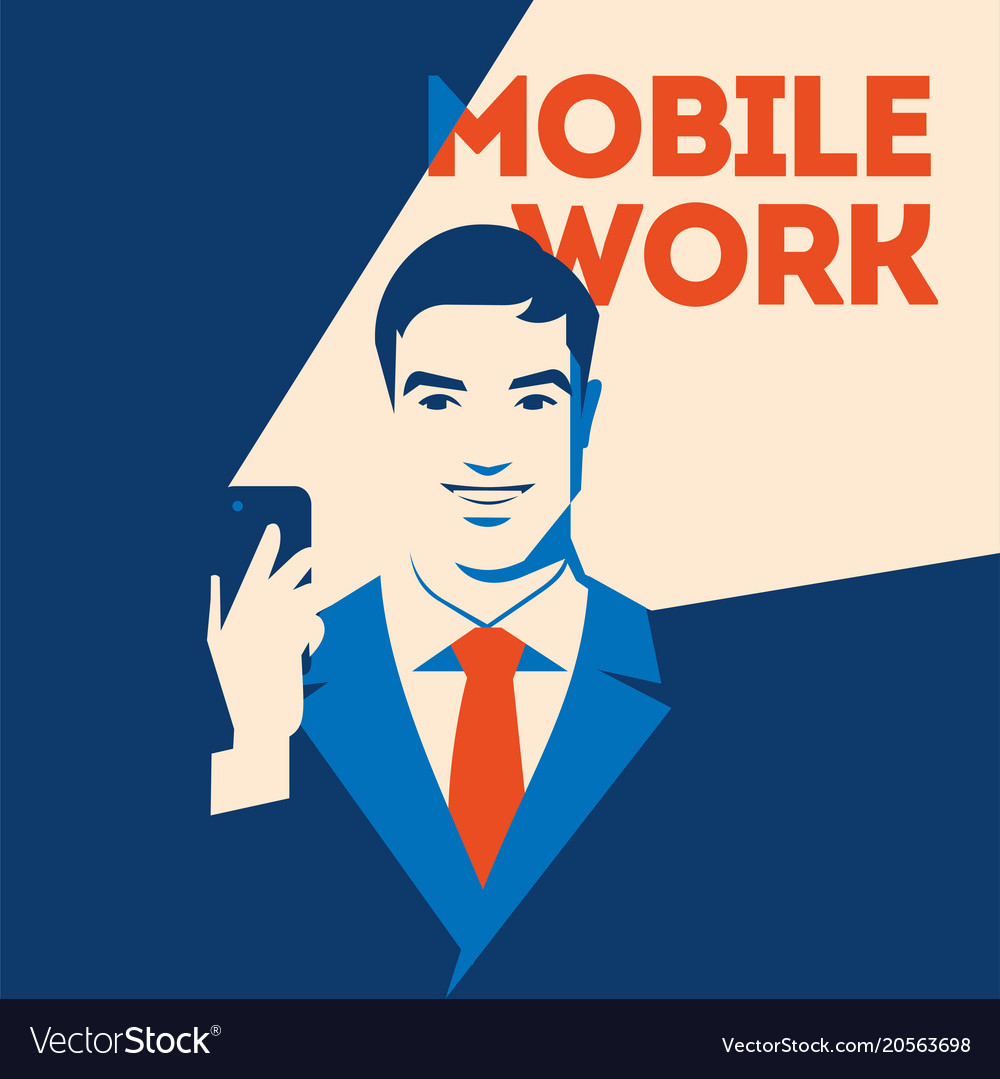 Businessman looking at smartphone mobile work