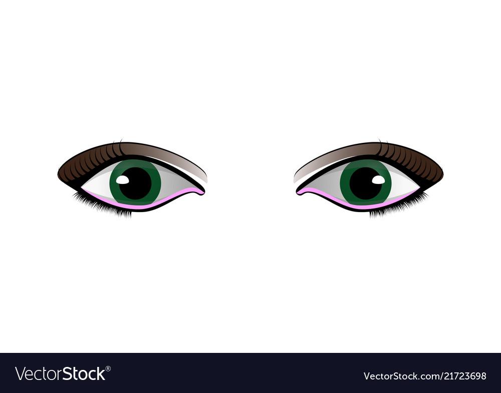 Cartoon woman eyes set isolated on white