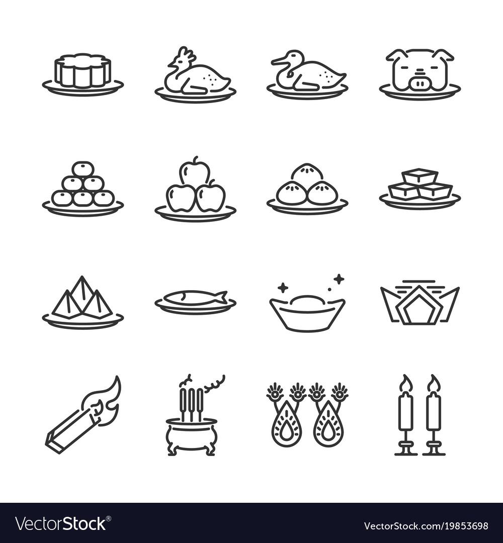 Chinese ancestor worship line icon set